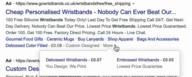 Объявление в поисковой выдаче по Великобритании