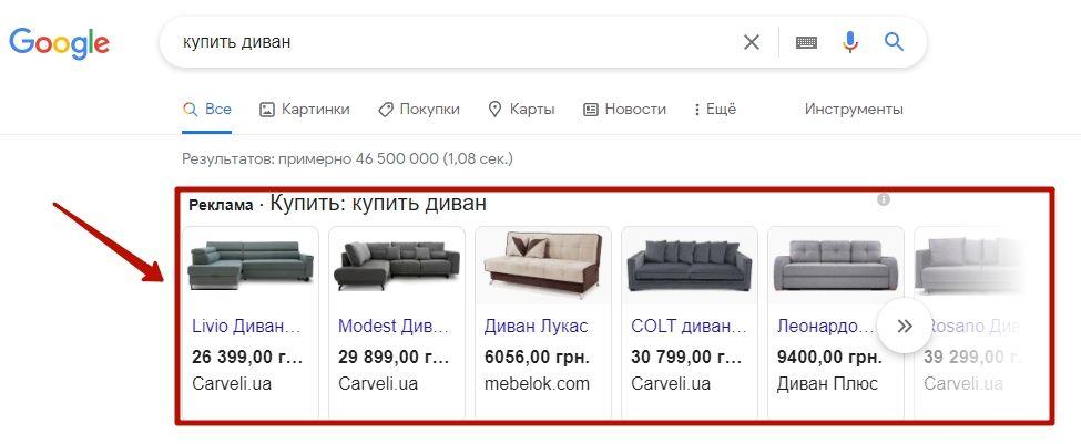 Товарные объявления в Google Shopping
